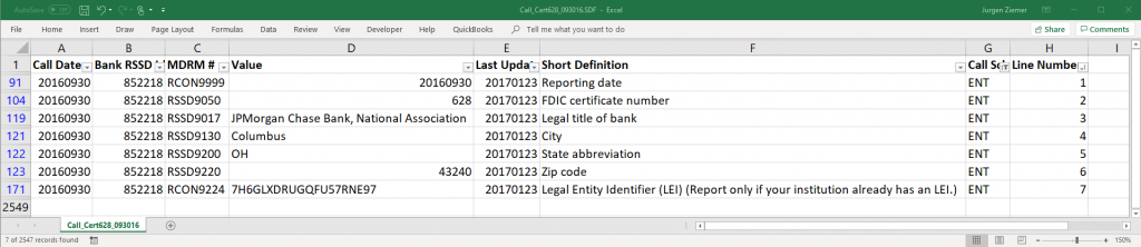 JPMC Call Report Excel screenshot